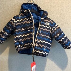 3-6 month boys north face puffy jacket reversible
